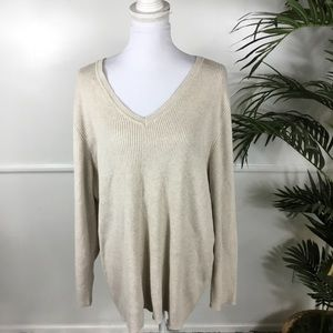 Lane Bryant Ribbed Beige V Neck Sweater 26/28